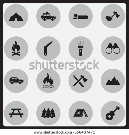 Set Of 16 Editable Camping Icons. Includes Symbols Such As Field Glasses, Ax, Fever And More. Can Be Used For Web, Mobile, UI And Infographic Design.