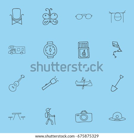 Set Of 16 Editable Camping Icons. Includes Symbols Such As Flying Toy, Wrist Clock, Beauty Insect And More. Can Be Used For Web, Mobile, UI And Infographic Design.