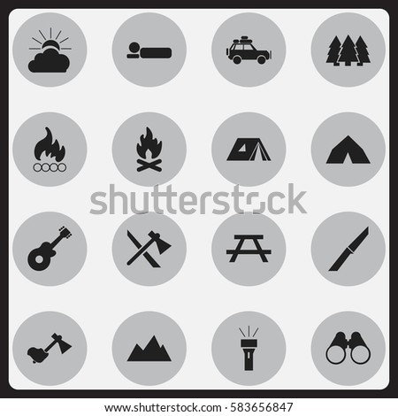 Set Of 16 Editable Camping Icons. Includes Symbols Such As Knife, Desk, Pine And More. Can Be Used For Web, Mobile, UI And Infographic Design.