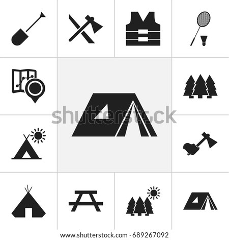 set of 12 editable camping
