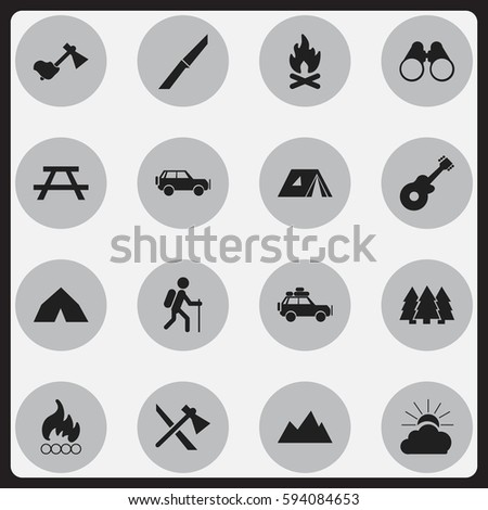 Set Of 16 Editable Camping Icons. Includes Symbols Such As Voyage Car, Gait, Fever And More. Can Be Used For Web, Mobile, UI And Infographic Design.
