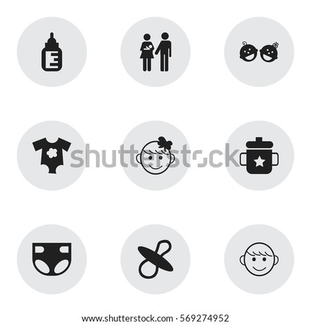 set of 9 editable child icons