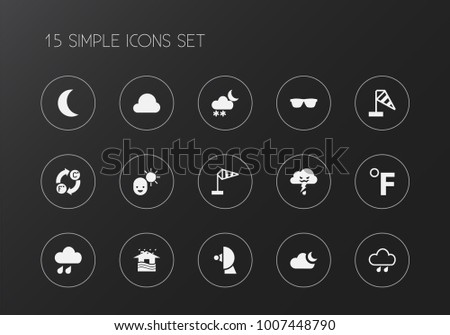 Set of 15 editable climate icons. Includes symbols such as celsius fahrenheit, sputnik, freeze and more. Can be used for web, mobile, UI and infographic design.