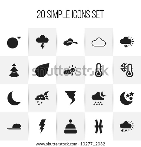 Set of 20 editable climate icons. Includes symbols such as sunny weather, hat, crescent overcast and more. Can be used for web, mobile, UI and infographic design.