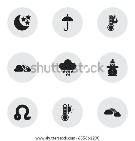 set of 9 editable climate icons