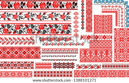 Set of 30 editable colorful seamless ethnic patterns for embroidery stitch. Floral and geometric ornaments. Foto d'archivio ©