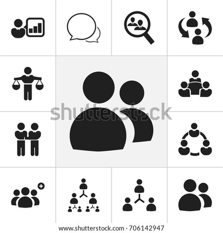 Set Of 12 Editable Community Icons. Includes Symbols Such As Conversation, Human Resouces, Staff Structure And More. Can Be Used For Web, Mobile, UI And Infographic Design.