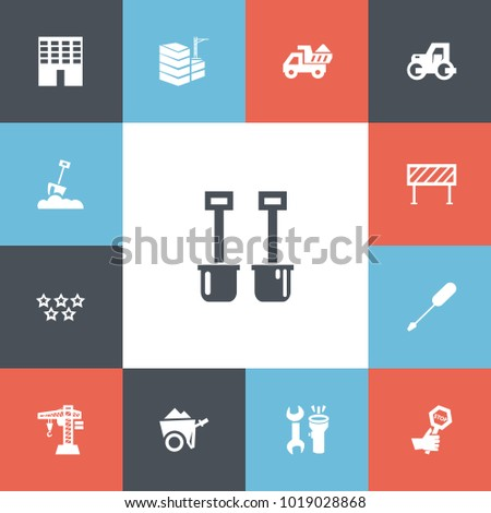 Set of 13 editable construction icons. Includes symbols such as building, halt, 5 starts and more. Can be used for web, mobile, UI and infographic design.