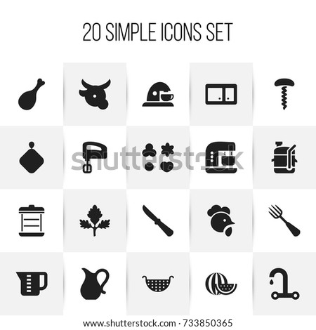Set Of 20 Editable Cook Icons. Includes Symbols Such As Mensural, Pot-Holder, Cock And More. Can Be Used For Web, Mobile, UI And Infographic Design.