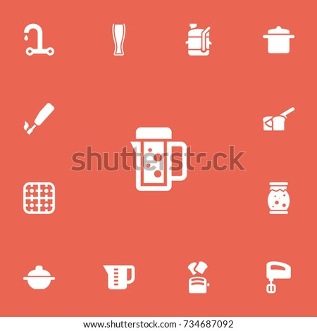 Set Of 13 Editable Cook Icons. Includes Symbols Such As Thermo Mug, Squeezer, Mensural And More. Can Be Used For Web, Mobile, UI And Infographic Design.