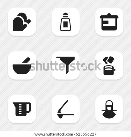 Set Of 9 Editable Cook Icons. Includes Symbols Such As Utensil, Crusher, Mensural And More. Can Be Used For Web, Mobile, UI And Infographic Design.