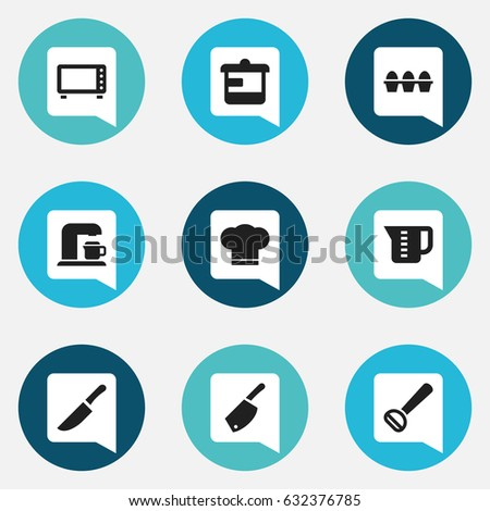 Set Of 9 Editable Cooking Icons. Includes Symbols Such As Mensural, Cook Cap, Oven And More. Can Be Used For Web, Mobile, UI And Infographic Design.