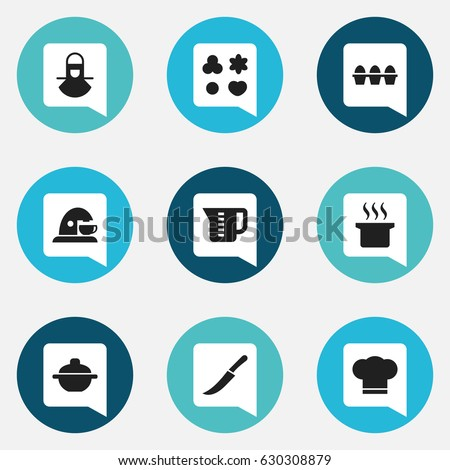 Set Of 9 Editable Cooking Icons. Includes Symbols Such As Mensural, Saucepan, Egg Carton And More. Can Be Used For Web, Mobile, UI And Infographic Design.