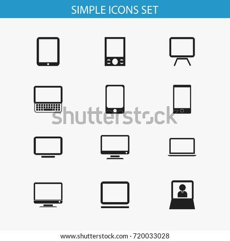 Set Of 12 Editable Devices Icons. Includes Symbols Such As Clavier, Notebook, Smartphone And More. Can Be Used For Web, Mobile, UI And Infographic Design.
