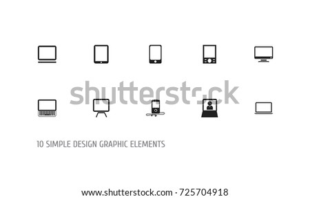 Set Of 10 Editable Devices Icons. Includes Symbols Such As Laptop, Tv, Clavier And More. Can Be Used For Web, Mobile, UI And Infographic Design.