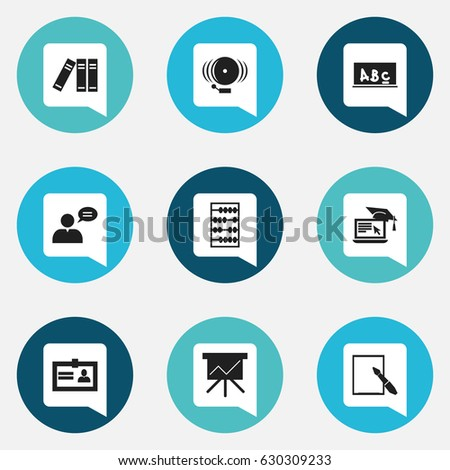 Set Of 9 Editable Education Icons. Includes Symbols Such As Arithmetic, Ring, Bookshelf And More. Can Be Used For Web, Mobile, UI And Infographic Design.