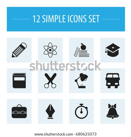 Set Of 12 Editable Education Icons. Includes Symbols Such As Cutting, Literature, Trunk And More. Can Be Used For Web, Mobile, UI And Infographic Design.