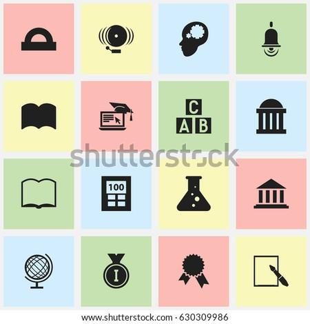set of 16 editable education