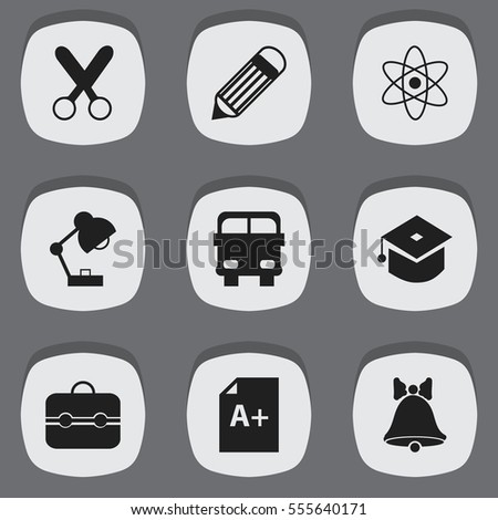 Set Of 9 Editable Education Icons. Includes Symbols Such As Lighting, Cutting, Jingle And More. Can Be Used For Web, Mobile, UI And Infographic Design.