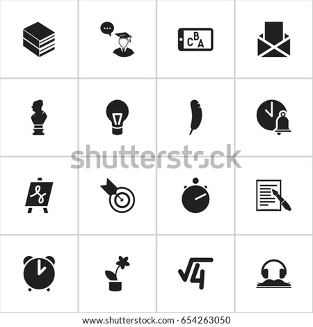Set Of 16 Editable Education Icons. Includes Symbols Such As Phone Play, Dartboard, Tabulation And More. Can Be Used For Web, Mobile, UI And Infographic Design.