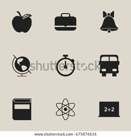 Set Of 9 Editable Education Icons. Includes Symbols Such As Portfolio, Timer, Molecule And More. Can Be Used For Web, Mobile, UI And Infographic Design.