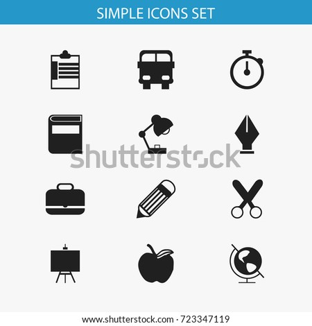 Set Of 12 Editable Education Icons. Includes Symbols Such As Supervision List  , Painter's Stand, Eraser. Can Be Used For Web, Mobile, UI And Infographic Design.