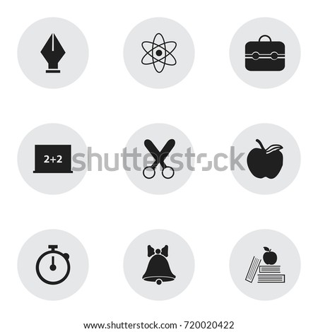 Set Of 9 Editable Education Icons. Includes Symbols Such As Timer, Nib, Cutting And More. Can Be Used For Web, Mobile, UI And Infographic Design.