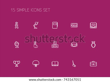 Set Of 15 Editable Education Outline Icons. Includes Symbols Such As Earth, Pupil, Stand. Can Be Used For Web, Mobile, UI And Infographic Design.