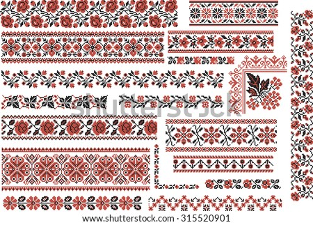 Cross Stitch Flower Border Set Download Free Vector Art Stock