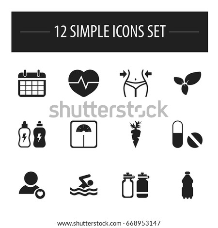 Set Of 12 Editable Exercise Icons. Includes Symbols Such As Profile, Swimming, Energetic Beverage And More. Can Be Used For Web, Mobile, UI And Infographic Design.
