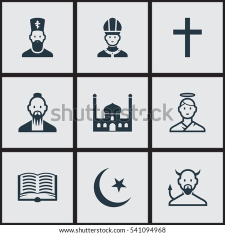 set of 9 editable faith icons