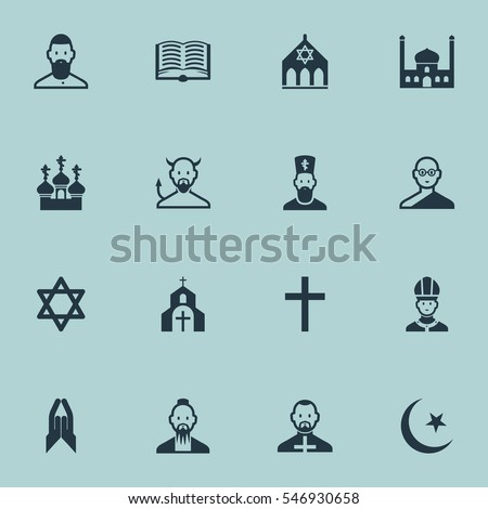 set of 16 editable faith icons