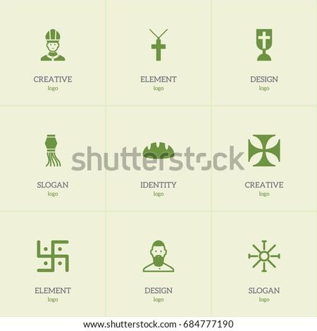 set of 9 editable faith icons