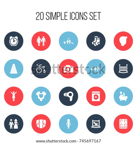 Set Of 20 Editable Family Icons. Includes Symbols Such As Cooker, Hour, Diaper And More. Can Be Used For Web, Mobile, UI And Infographic Design. #745697167