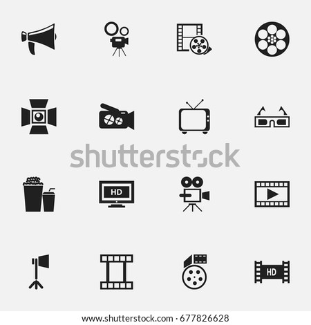 Set Of 16 Editable Filming Icons. Includes Symbols Such As 3D Vision, Movie Camera, Hd Screen And More. Can Be Used For Web, Mobile, UI And Infographic Design.