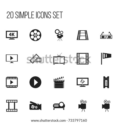 Set Of 20 Editable Filming Icons. Includes Symbols Such As Reel, Ultra Display, Tripod And More. Can Be Used For Web, Mobile, UI And Infographic Design.