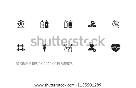 Set of 10 editable fitness icons. Includes symbols such as biceps, pool, dumbbell and more. Can be used for web, mobile, UI and infographic design.