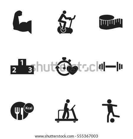 Set Of 9 Editable Fitness Icons. Includes Symbols Such As Health Time, Training Bike, Platform For Winner And More. Can Be Used For Web, Mobile, UI And Infographic Design.