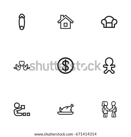 set of 9 editable folks icons