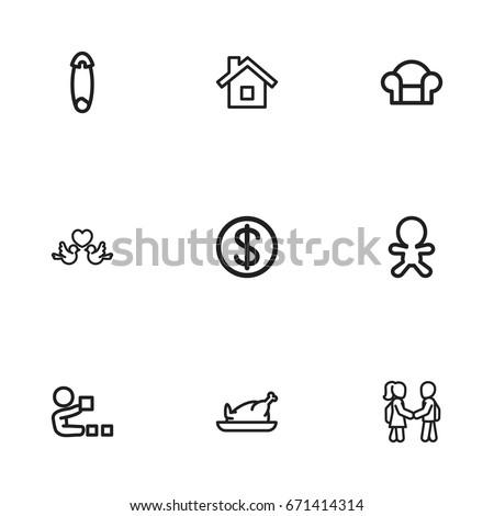 set of 9 editable folks icons