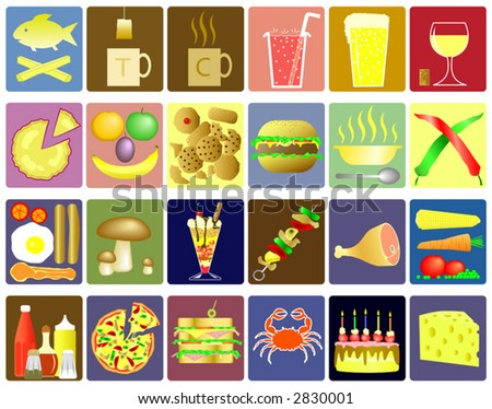 Set of editable food and drink vector icons