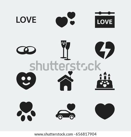 set of 12 editable heart icons