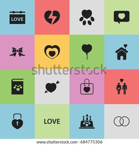 set of 16 editable heart icons