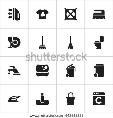 Set Of 16 Editable Hygiene Icons. Includes Symbols Such As Broomstick, Laundress, Dustbin And More. Can Be Used For Web, Mobile, UI And Infographic Design.