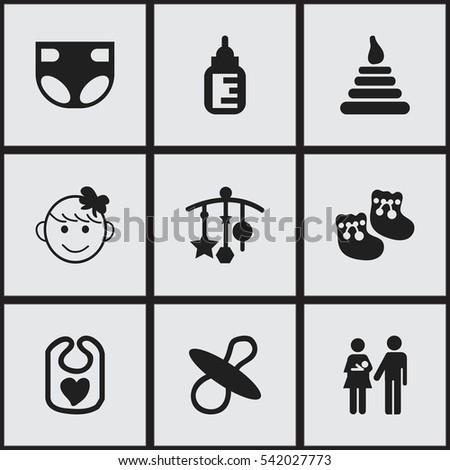 set of 9 editable  icons