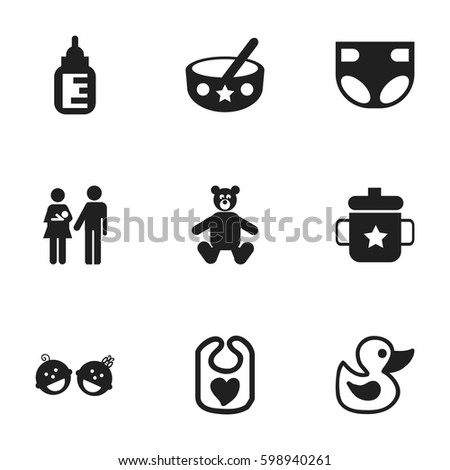 set of 9 editable infant icons