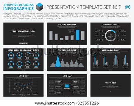Set of editable infographic presentation templates with graphs and charts on black background