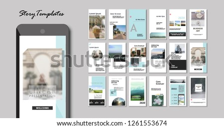 Set of Editable Instagram Original Story Templates or magazine. Pack of fashion flyers design or creative presentation pages- Vector #1261553674