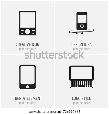 Set Of 4 Editable Instrument Icons. Includes Symbols Such As Mp3 Player, Smartphone, Clavier And More. Can Be Used For Web, Mobile, UI And Infographic Design.