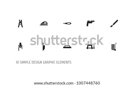 Set of 10 editable instrument icons. Includes symbols such as shipment, medical instrument, pruning shears and more. Can be used for web, mobile, UI and infographic design.